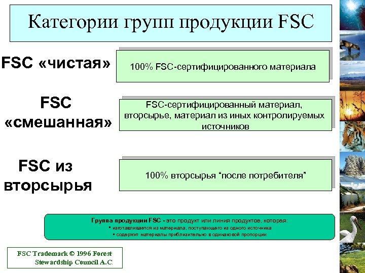 Категории групп продукции FSC «чистая» 100% FSC-сертифицированного материала FSC «смешанная» FSC-сертифицированный материал, вторсырье, материал