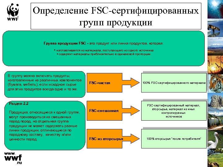 Определение FSC-сертифицированных групп продукции Группа продукции FSC - это продукт или линия продуктов, которая: