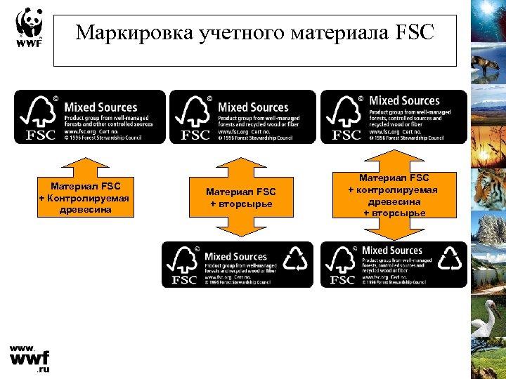 Маркировка учетного материала FSC Материал FSC + Контролируемая древесина Материал FSC + вторсырье Материал