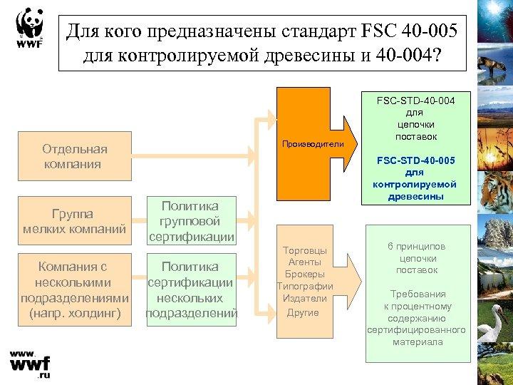 Для кого предназначены стандарт FSC 40 -005 для контролируемой древесины и 40 -004? Производители