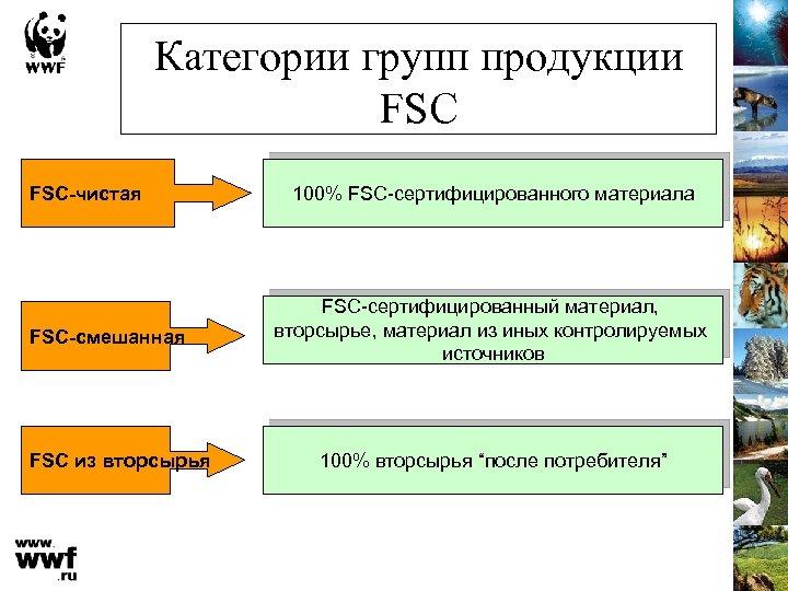 Категории групп продукции FSC-чистая FSC-смешанная FSC из вторсырья 100% FSC-сертифицированного материала FSC-сертифицированный материал, вторсырье,