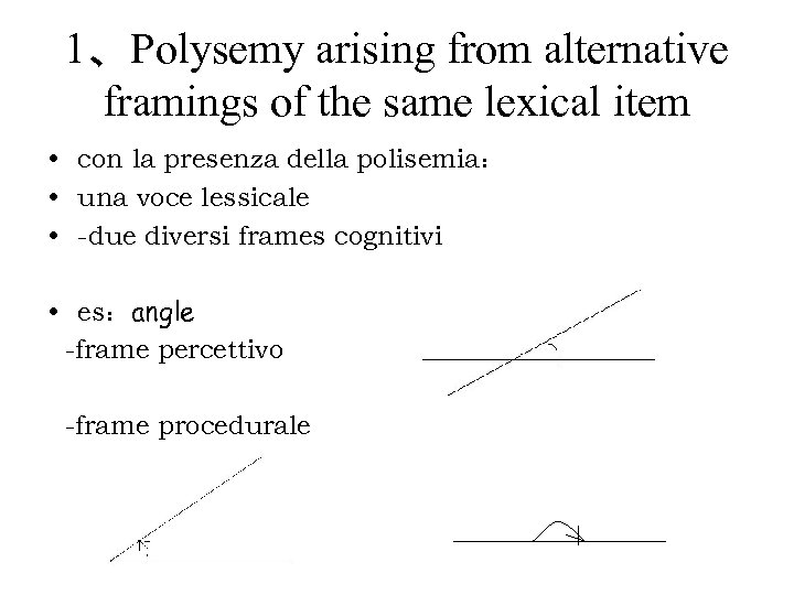 1、Polysemy arising from alternative framings of the same lexical item • con la presenza