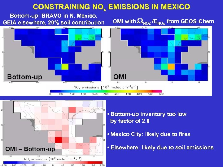 CONSTRAINING NOx EMISSIONS IN MEXICO Bottom-up: BRAVO in N. Mexico, GEIA elsewhere, 20% soil