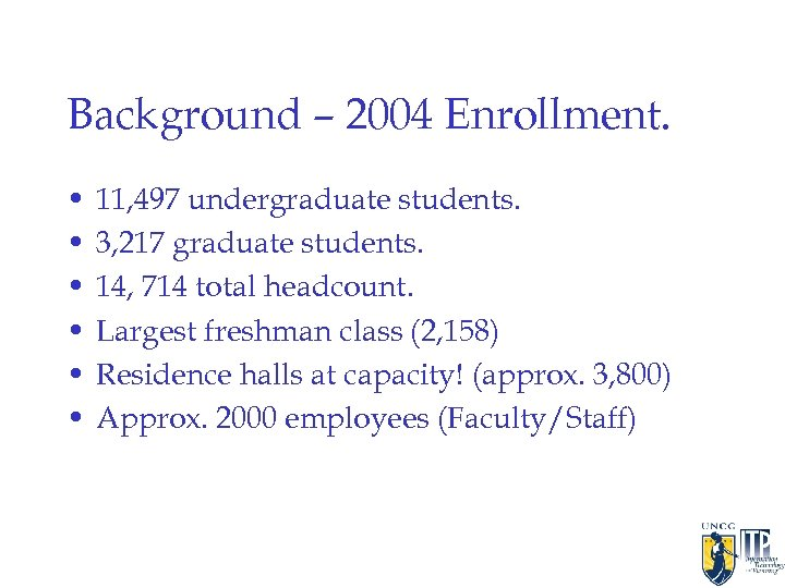 Background – 2004 Enrollment. • • • 11, 497 undergraduate students. 3, 217 graduate