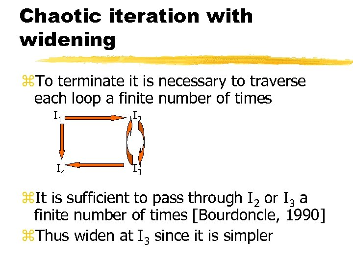 Chaotic iteration with widening z. To terminate it is necessary to traverse each loop