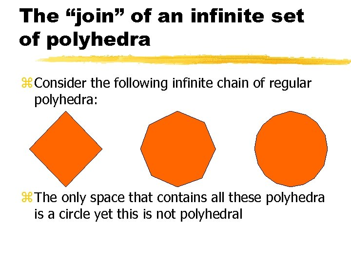 """The """"join"""" of an infinite set of polyhedra z Consider the following infinite chain"""