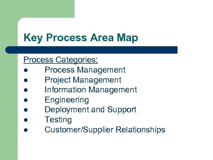 Key Process Area Map Process Categories: l Process Management l Project Management l Information