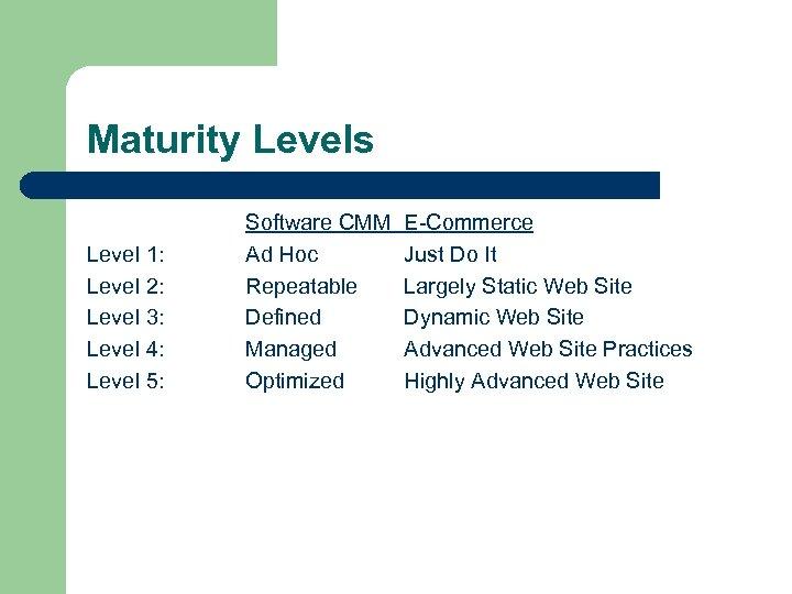 Maturity Levels Level 1: Level 2: Level 3: Level 4: Level 5: Software CMM