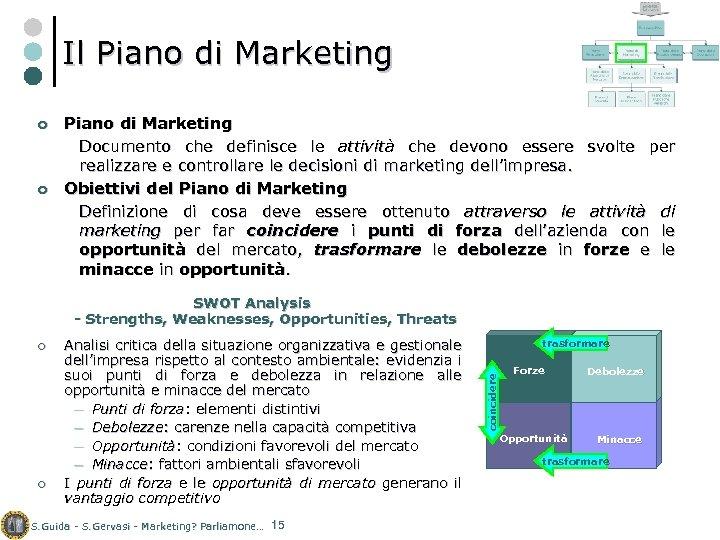 Il Piano di Marketing ¢ ¢ Piano di Marketing Documento che definisce le attività