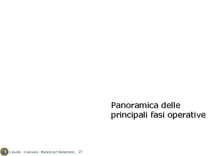 Panoramica delle principali fasi operative S. Guida - S. Gervasi - Marketing? Parliamone… 21