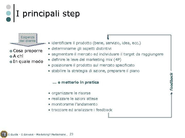 I principali step ¢ Cosa ¢A proporre chi ¢ In quale modo • identificare