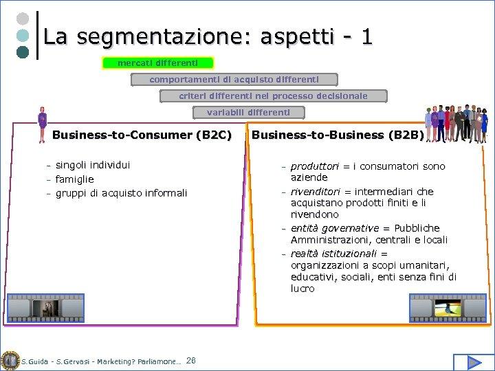 La segmentazione: aspetti - 1 mercati differenti comportamenti di acquisto differenti criteri differenti nel