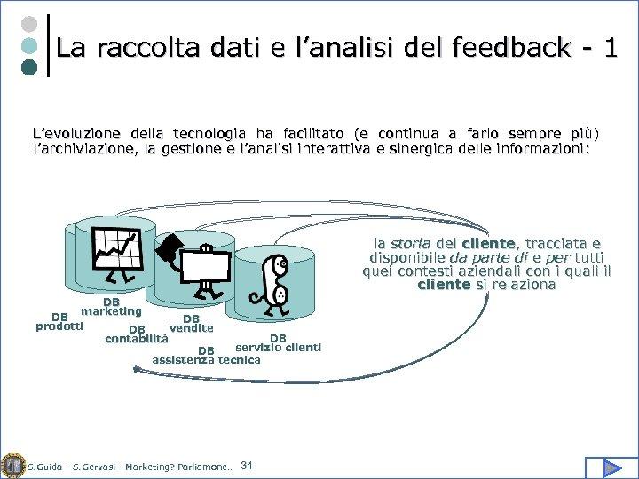 La raccolta dati e l'analisi del feedback - 1 L'evoluzione della tecnologia ha facilitato