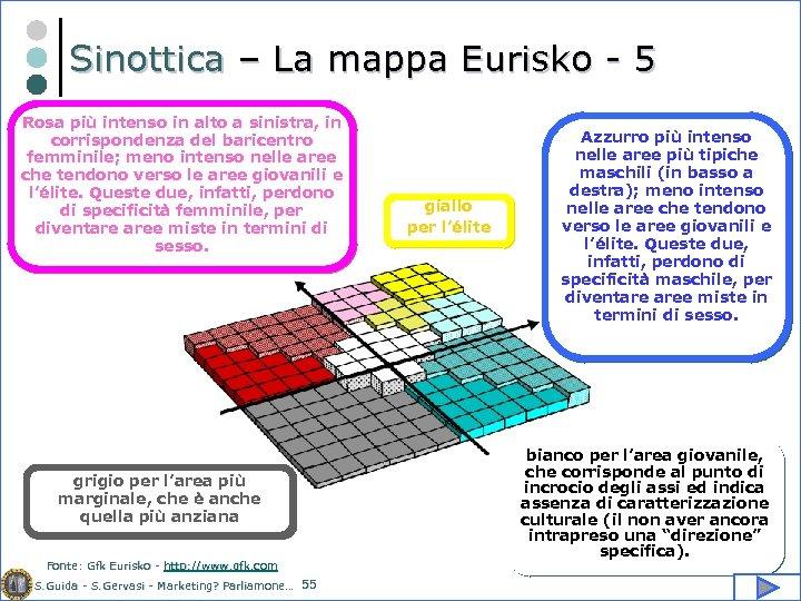 Sinottica – La mappa Eurisko - 5 Rosa più intenso in alto a sinistra,