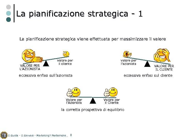 La pianificazione strategica - 1 La pianificazione strategica viene effettuata per massimizzare il valore