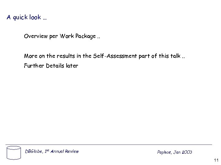 A quick look … Overview per Work Package. . More on the results in