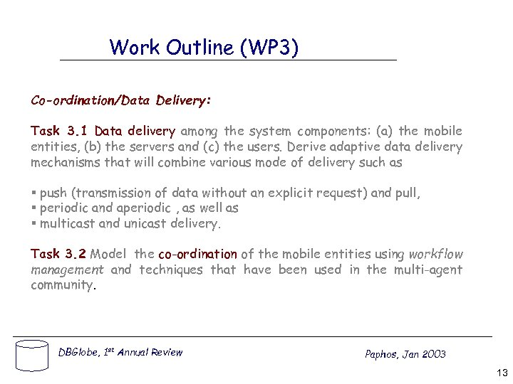 Work Outline (WP 3) Co-ordination/Data Delivery: Task 3. 1 Data delivery among the system