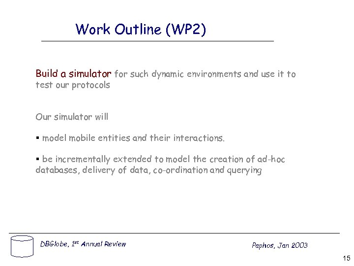 Work Outline (WP 2) Build a simulator for such dynamic environments and use it