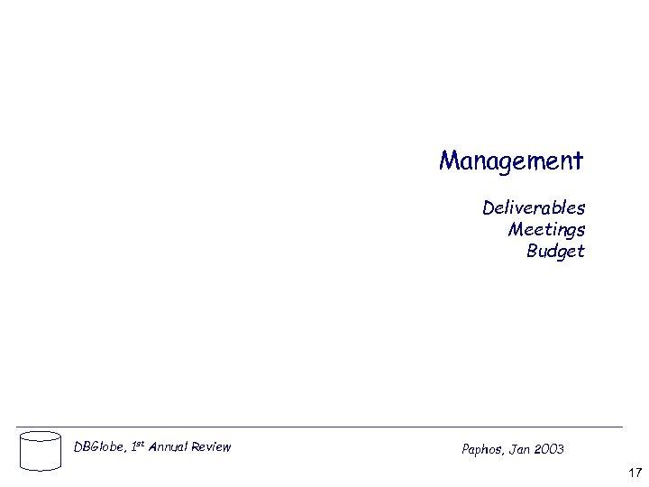 Management Deliverables Meetings Budget DBGlobe, 1 st Annual Review Paphos, Jan 2003 17