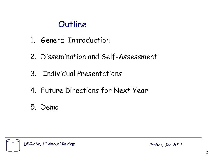 Outline 1. General Introduction 2. Dissemination and Self-Assessment 3. Individual Presentations 4. Future Directions