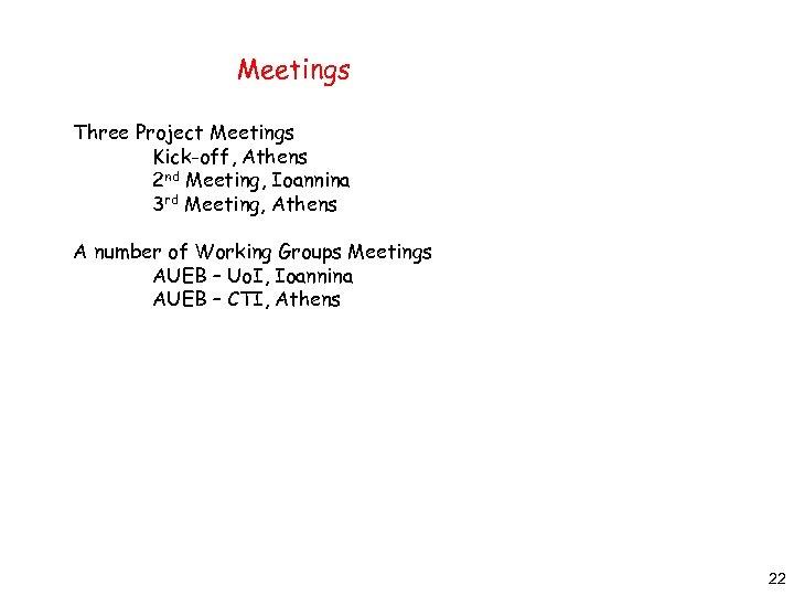 Meetings Three Project Meetings Kick-off, Athens 2 nd Meeting, Ioannina 3 rd Meeting, Athens