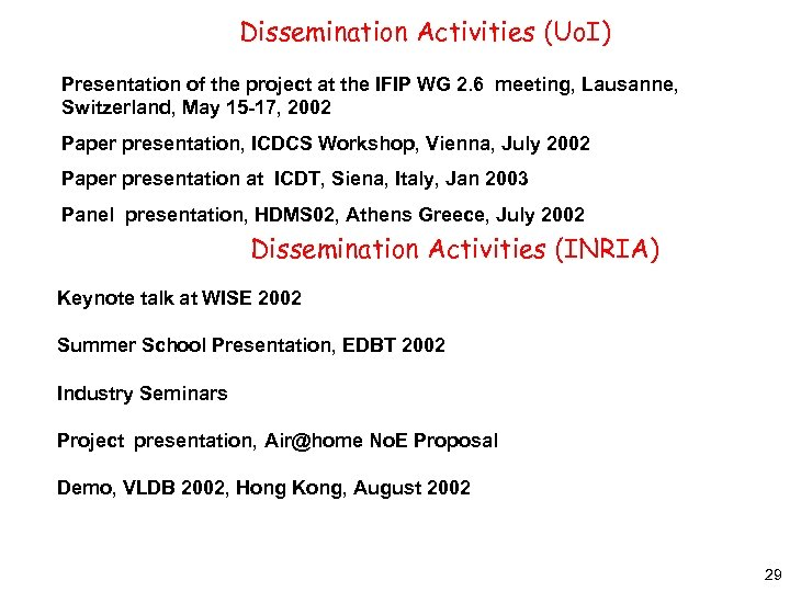 Dissemination Activities (Uo. I) Presentation of the project at the IFIP WG 2. 6