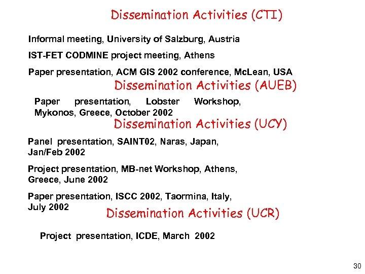 Dissemination Activities (CTI) Informal meeting, University of Salzburg, Austria IST-FET CODMINE project meeting, Athens