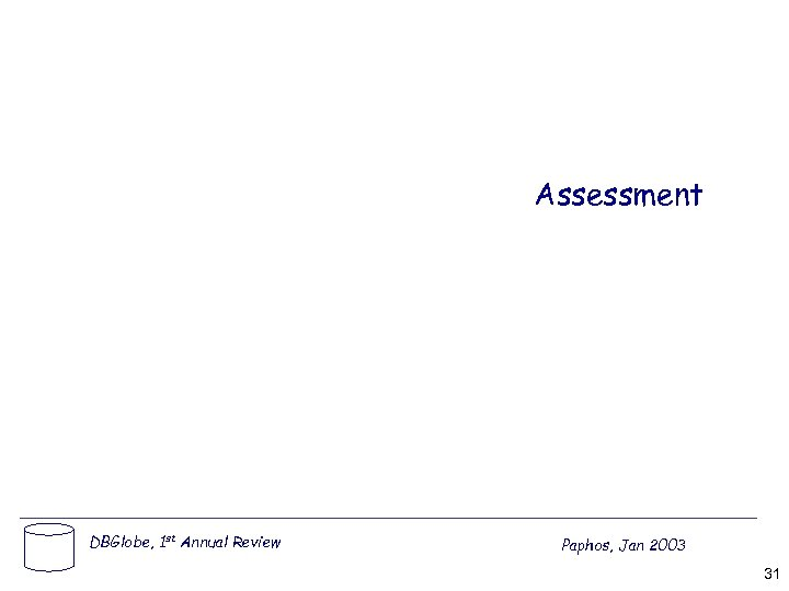 Assessment DBGlobe, 1 st Annual Review Paphos, Jan 2003 31