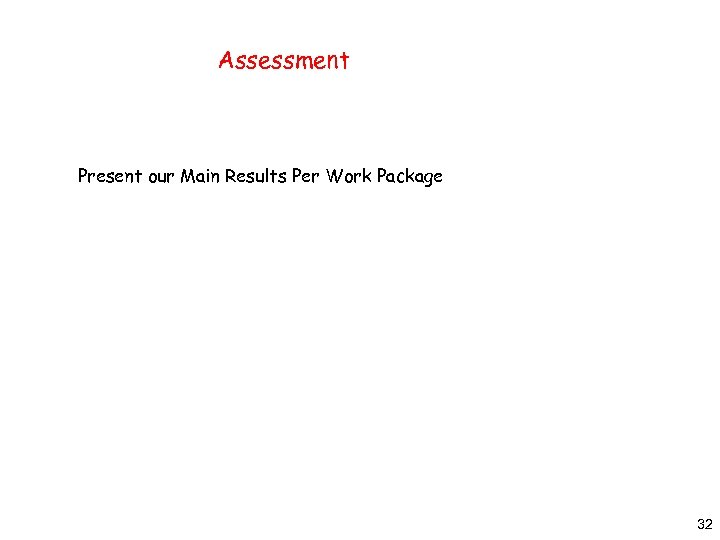 Assessment Present our Main Results Per Work Package 32