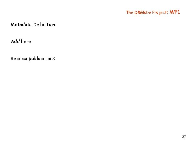 The DBGlobe Project: WP 1 Metadata Definition Add here Related publications 37