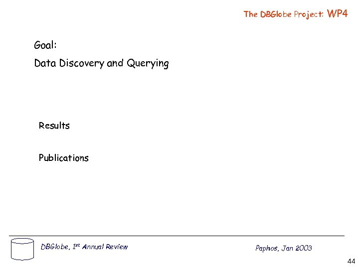 The DBGlobe Project: WP 4 Goal: Data Discovery and Querying Results Publications DBGlobe, 1