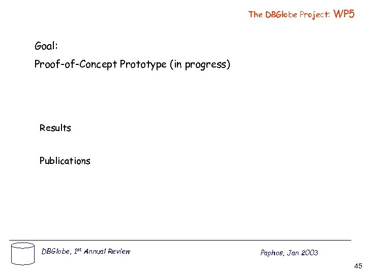 The DBGlobe Project: WP 5 Goal: Proof-of-Concept Prototype (in progress) Results Publications DBGlobe, 1