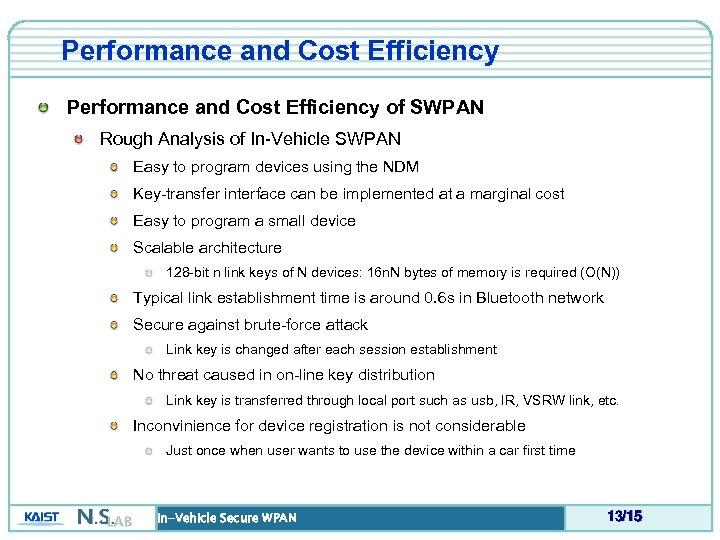 Performance and Cost Efficiency of SWPAN Rough Analysis of In-Vehicle SWPAN Easy to program