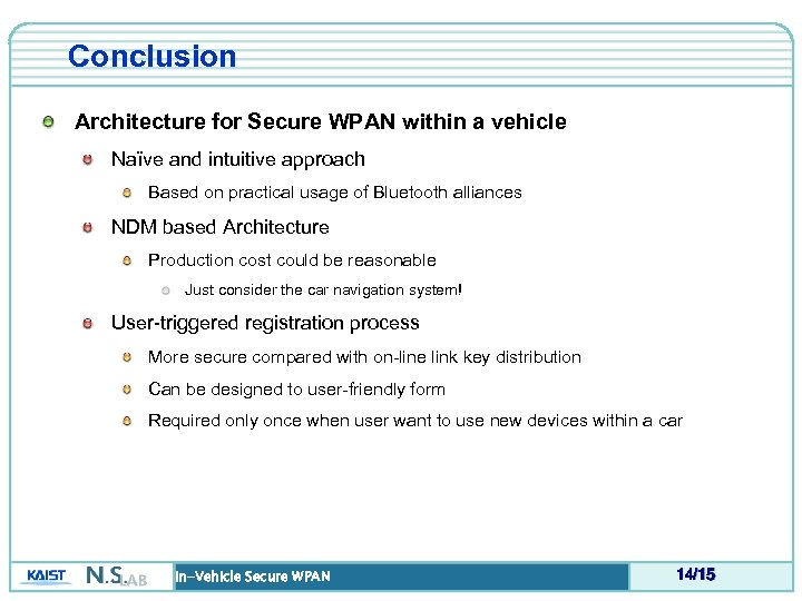 Conclusion Architecture for Secure WPAN within a vehicle Naïve and intuitive approach Based on