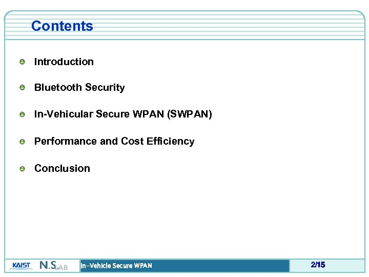 Contents Introduction Bluetooth Security In-Vehicular Secure WPAN (SWPAN) Performance and Cost Efficiency Conclusion In-Vehicle