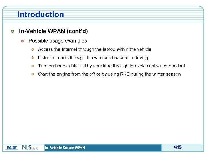 Introduction In-Vehicle WPAN (cont'd) Possible usage examples Access the Internet through the laptop within