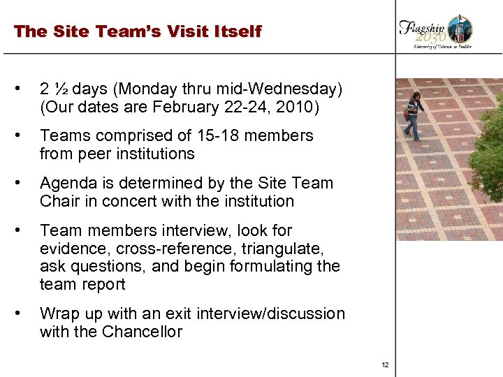 The Site Team's Visit Itself • 2 ½ days (Monday thru mid-Wednesday) (Our dates