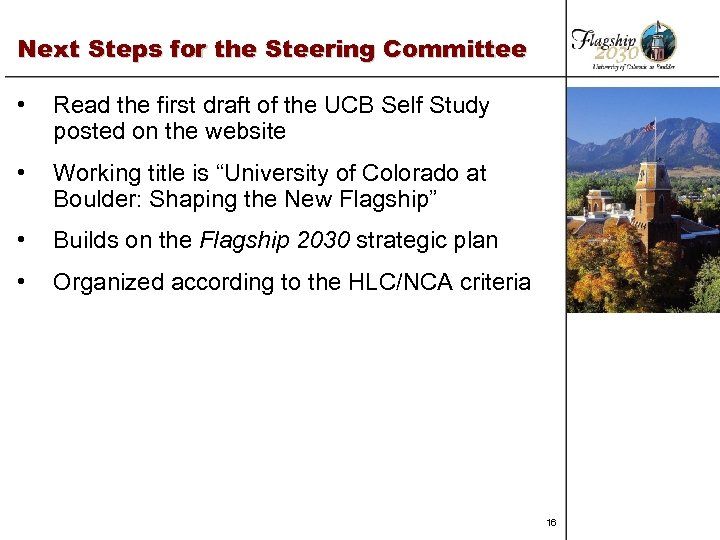 Next Steps for the Steering Committee • Read the first draft of the UCB