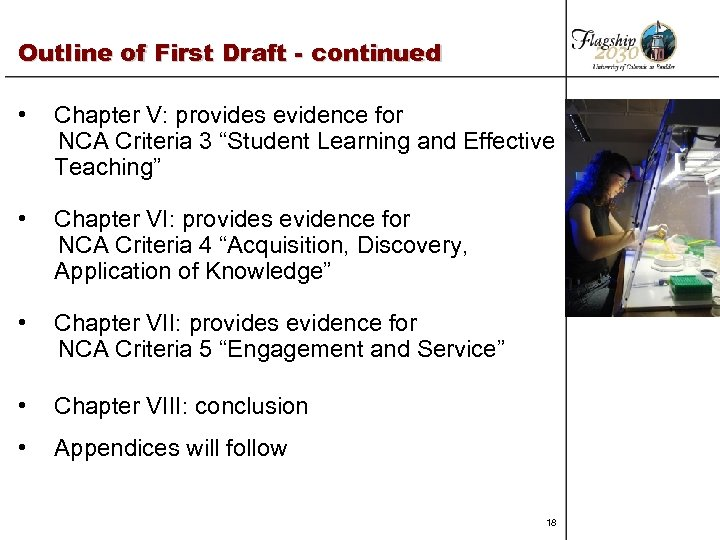 Outline of First Draft - continued • Chapter V: provides evidence for NCA Criteria