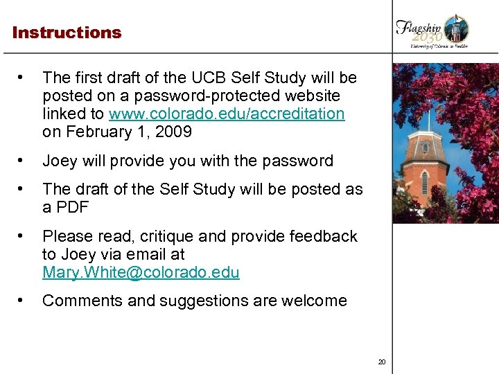 Instructions • The first draft of the UCB Self Study will be posted on