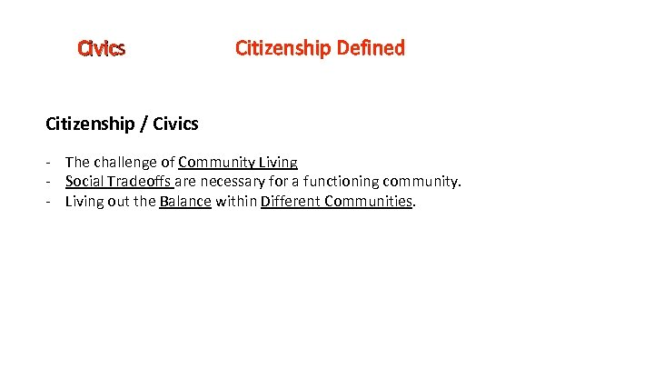 Civics Civic Citizenship Defined Citizenship / Civics - The challenge of Community Living -
