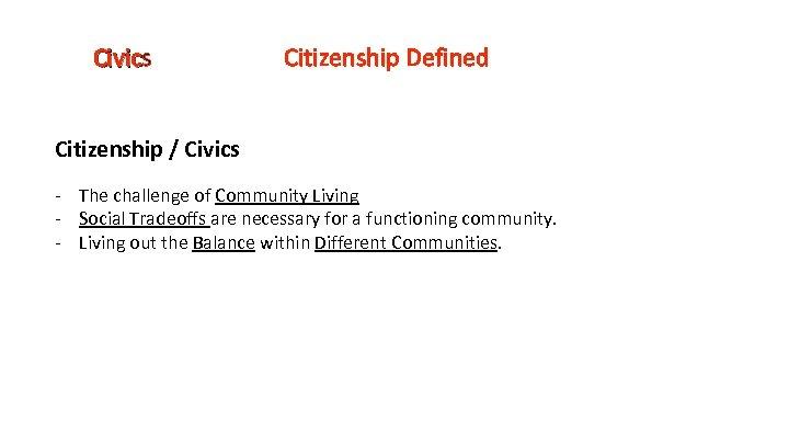 Civics Civic Citizenship Defined Citizenship / Civics - The challenge of Community Living -