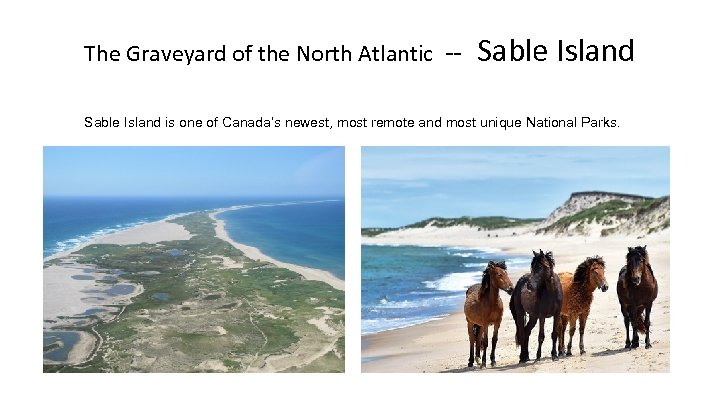 The Graveyard of the North Atlantic -- Sable Island is one of Canada's newest,