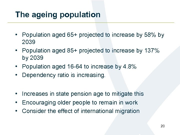The ageing population • Population aged 65+ projected to increase by 58% by 2039