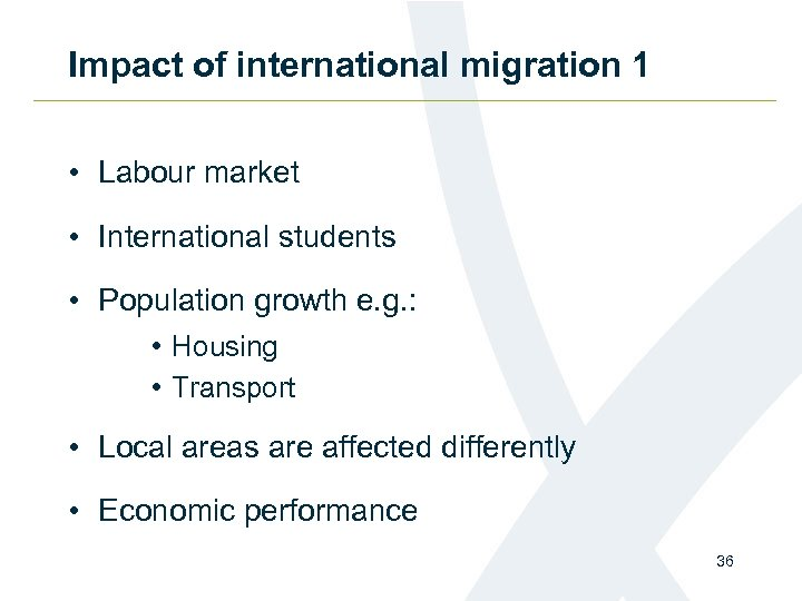 Impact of international migration 1 • Labour market • International students • Population growth