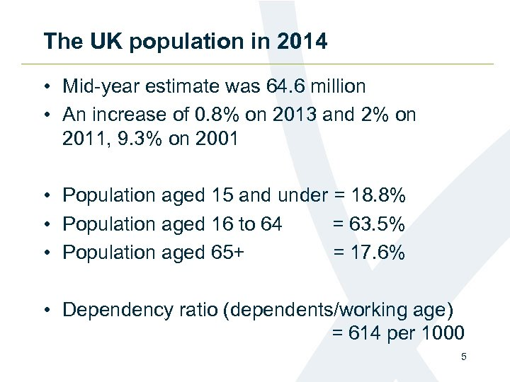 The UK population in 2014 • Mid-year estimate was 64. 6 million • An