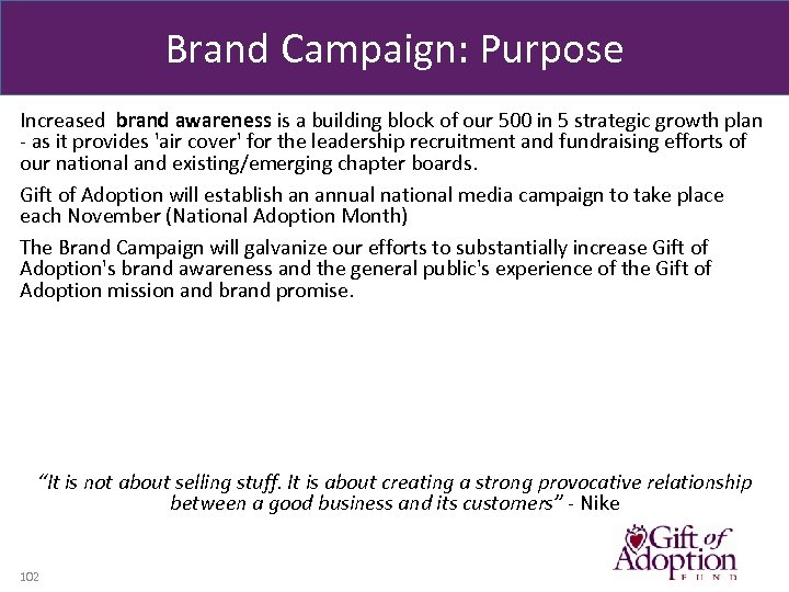 Brand Campaign: Purpose Increased brand awareness is a building block of our 500 in