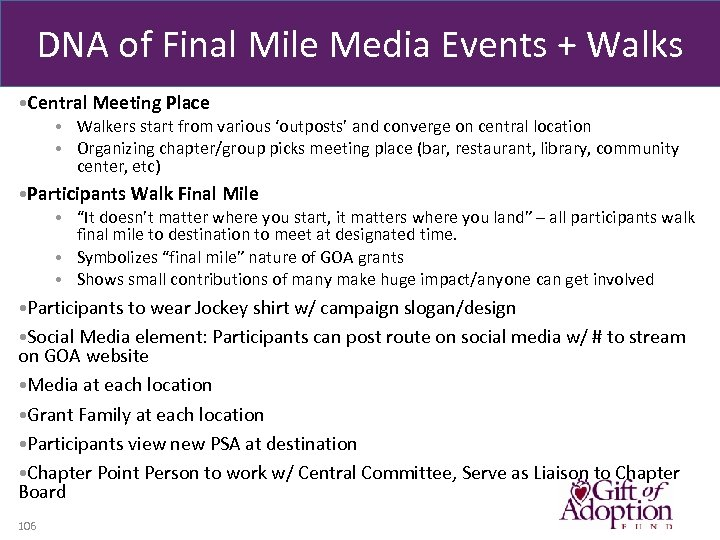 DNA of Final Mile Media Events + Walks • Central Meeting Place • Walkers
