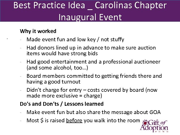Best Practice Idea _ Carolinas Chapter Inaugural Event . Why it worked - Made