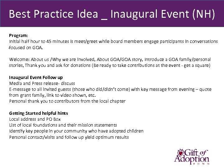 Best Practice Idea _ Inaugural Event (NH) Program: Initial half hour to 45 minutes